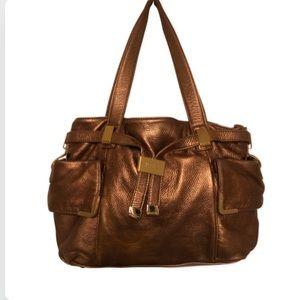 Michael Kors Large Satchel purse in metallic Gold